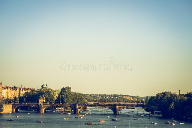 Legion Bridge is granite bridge on Vltava river in Prague.  royalty free stock photography