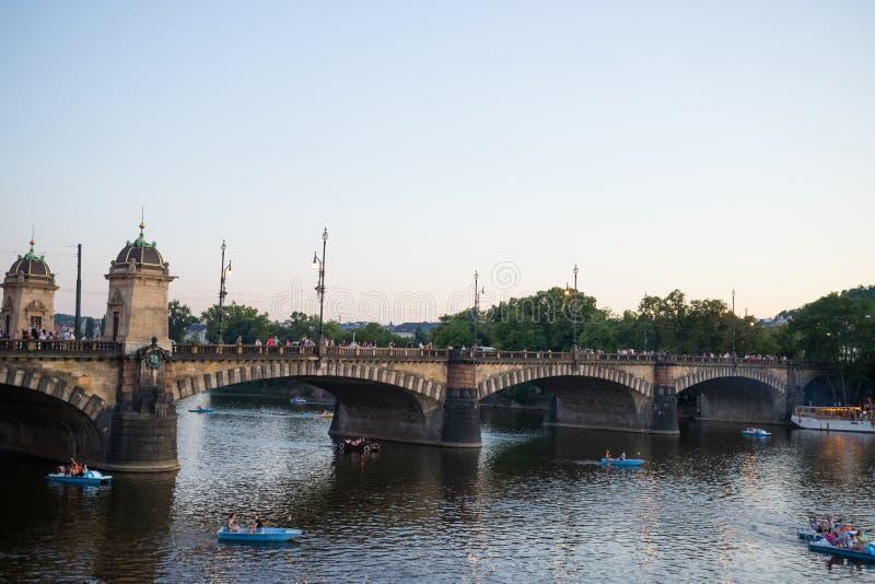 Legion Bridge is granite bridge on Vltava river in Prague.  stock images