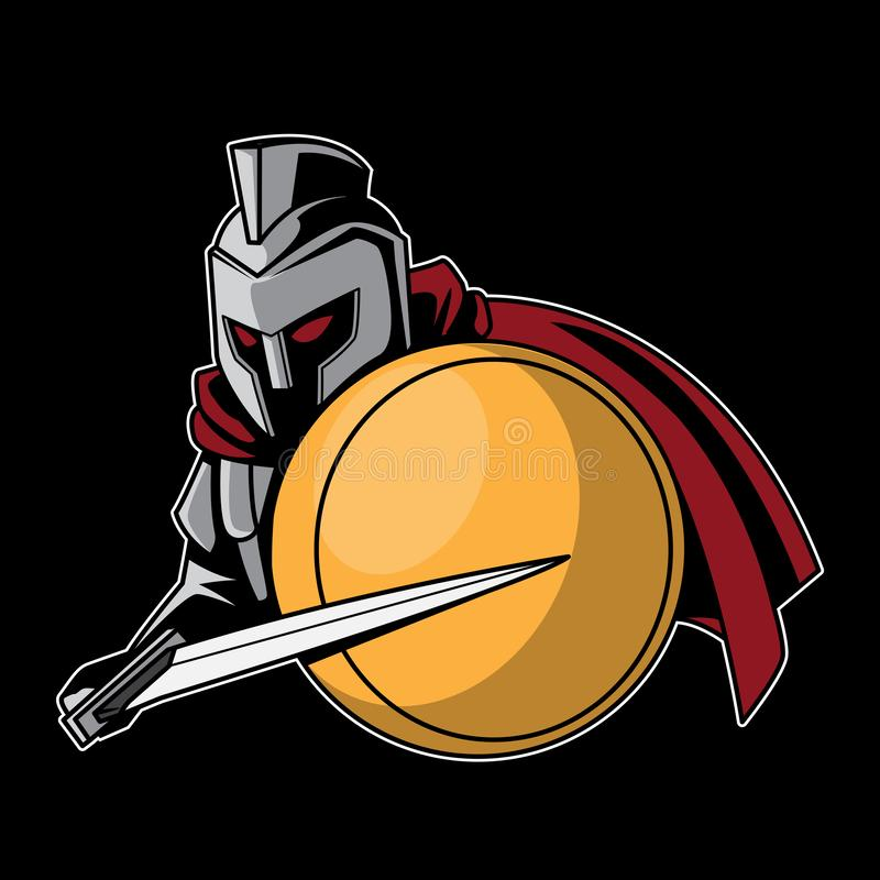 Legion Sword Warrior vector logo illustration. Mascot decal graphic t-shirt element design royalty free illustration