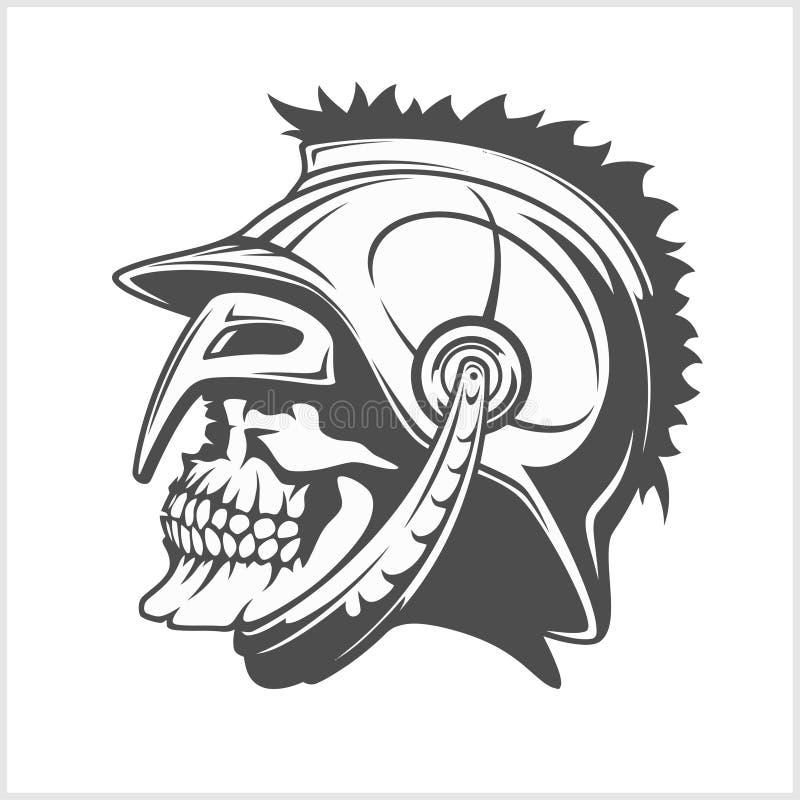 Legionary черепа римский - череп в шлеме иллюстрация вектора