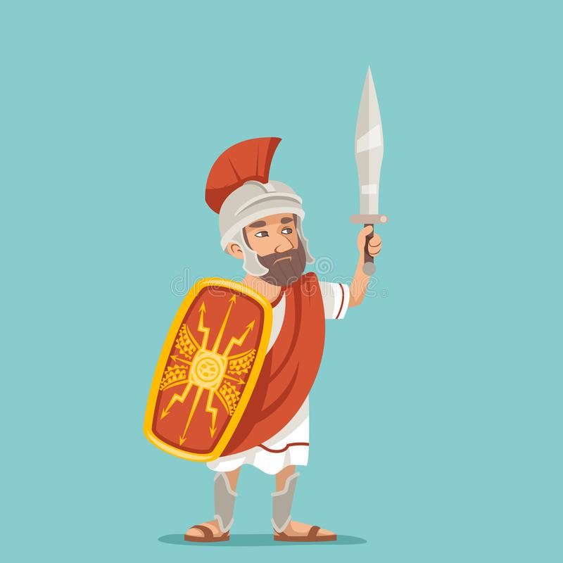 Legionnaire sword shield warrior soldier greek roman retro vintage character icon cartoon design vector illustration stock illustration