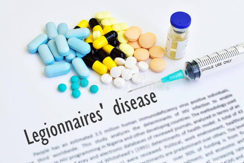 Legionnaires' disease. Drugs and syringe for Legionnaires' disease royalty free stock image