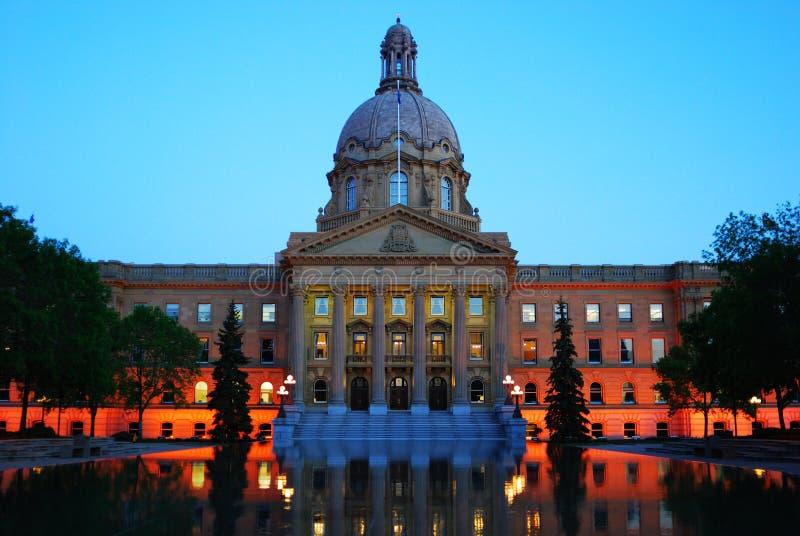 Legislative building nightshot. Nightshot of the legislative building in dusk, edmonton, alberta, canada stock photography