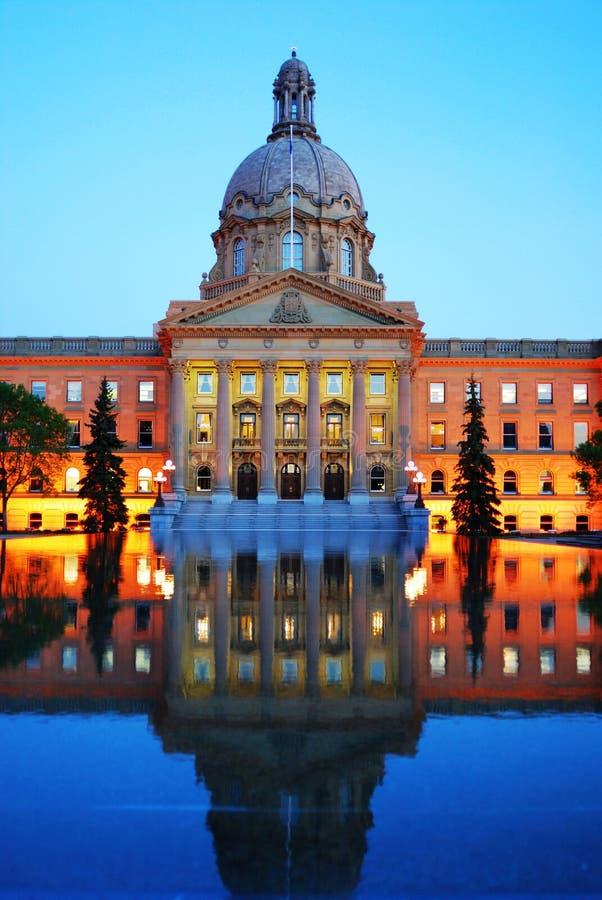Legislative building nightshot. Nightshot of the legislative building in dusk, edmonton, alberta, canada royalty free stock images