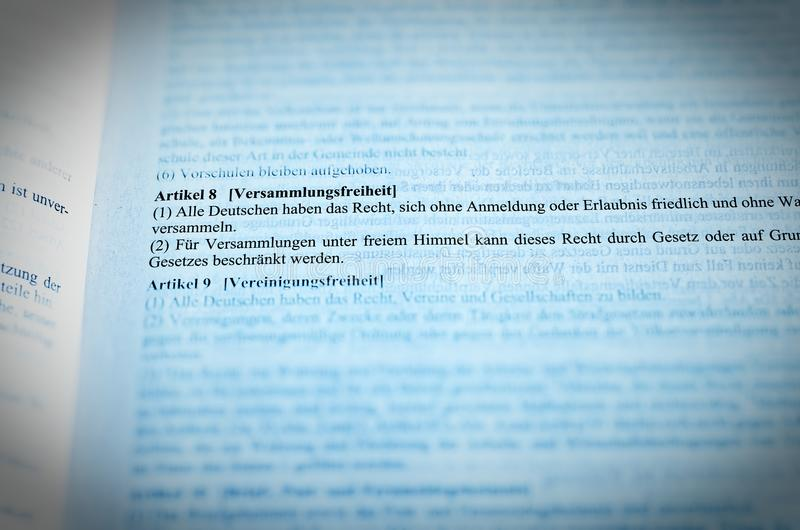 Legislative text of the Basic Law Article 8 GG Freedom of assembly Fundamental rights of the Federal Republic of Germany.  stock photos