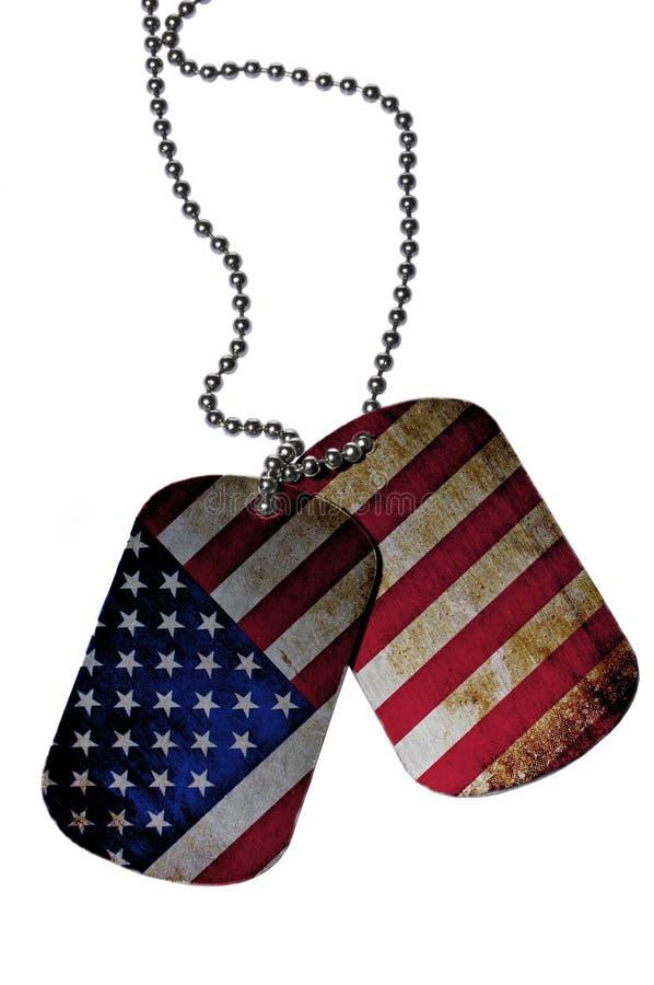 legitimationetiketter med USA flaggan arkivfoto