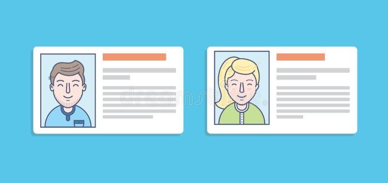 legitimationkortsymboler av mannen och kvinnan arkivfoton