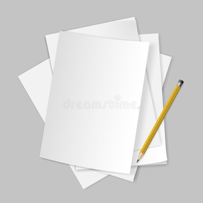 Legitimationshandlingar och blyertspenna. royaltyfri illustrationer