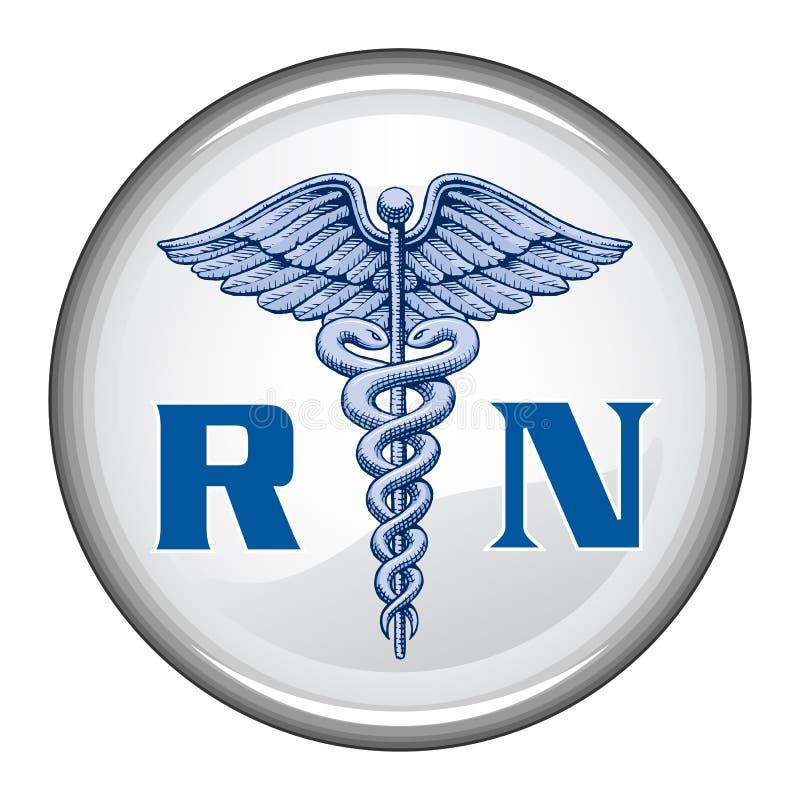 Legitimerad sjuksköterska Button royaltyfri illustrationer