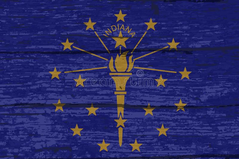 Legname di Indiana State Flag On Old illustrazione vettoriale