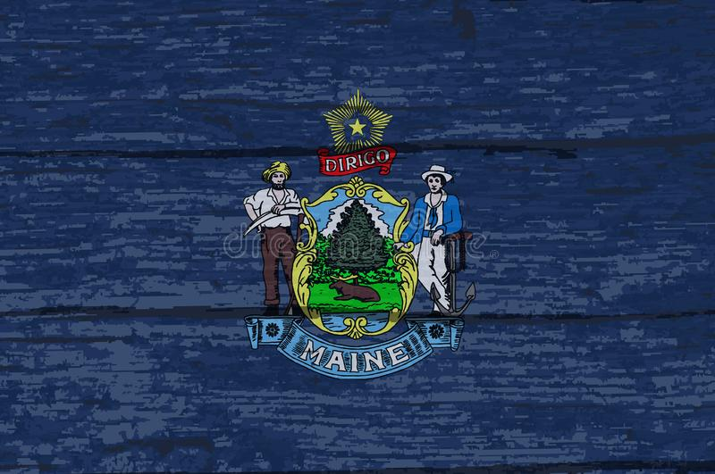 Legname di Maine State Flag On Old royalty illustrazione gratis