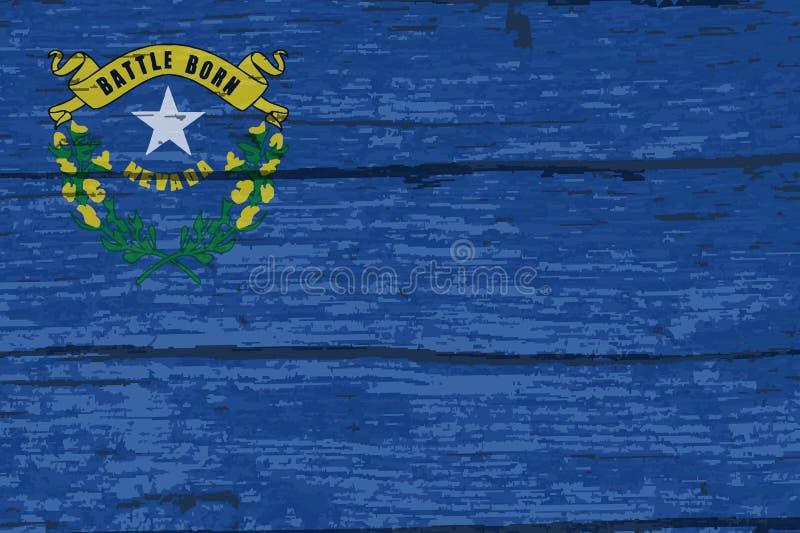 Legname di Nevada State Flag On Old illustrazione di stock