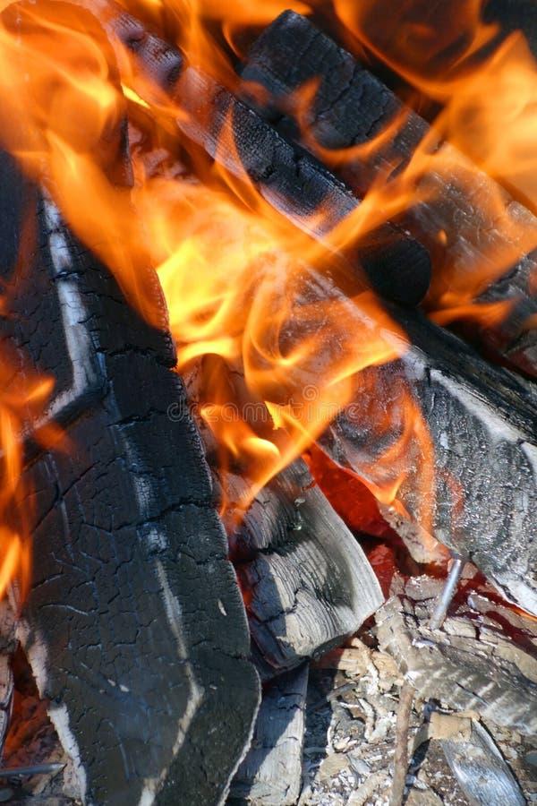 Legno bruciante in un addetto alla brasatura fotografia stock