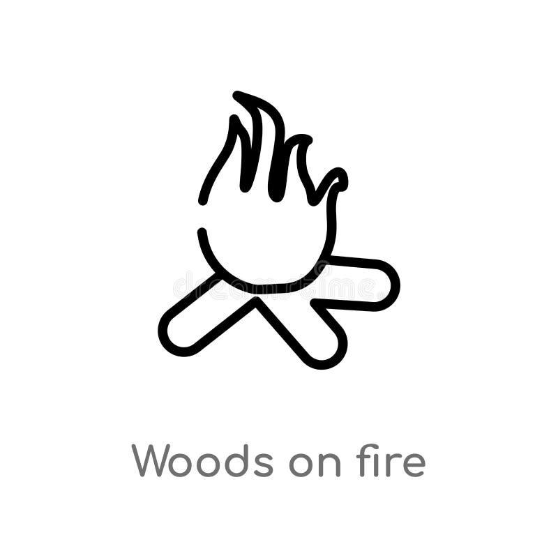 legno del profilo sull'icona di vettore del fuoco linea semplice nera isolata illustrazione dell'elemento dal concetto di meteoro illustrazione vettoriale