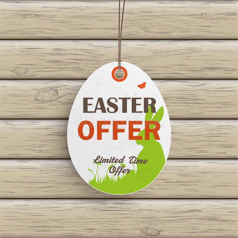 Legno dell'autoadesivo di prezzi dell'uovo di offerta di Pasqua illustrazione vettoriale