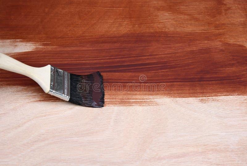 Legno della pittura del pennello immagine stock libera da diritti