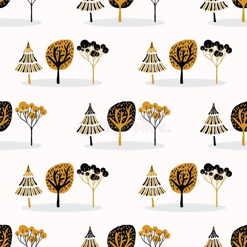 Legno stilizzato dell'albero che ripete modello senza cuciture, stile d'annata disegnato a mano royalty illustrazione gratis
