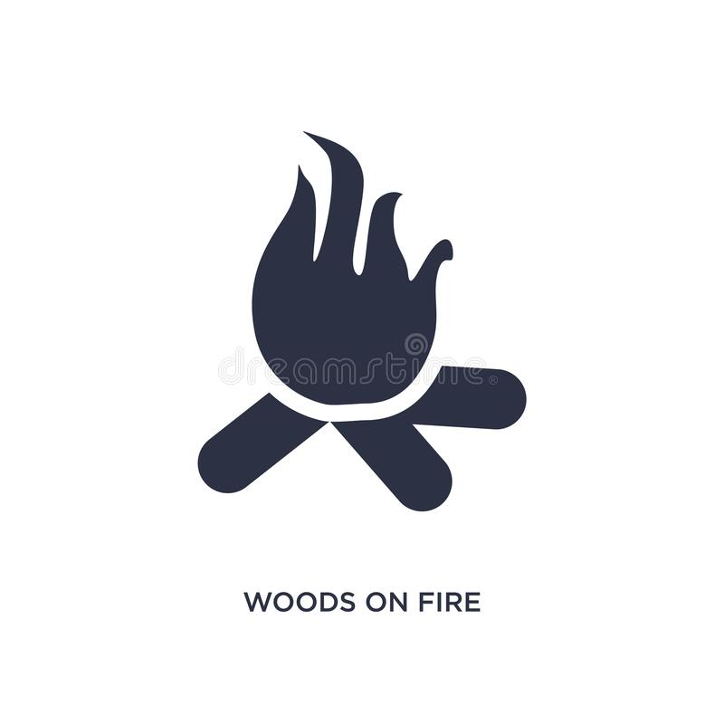 legno sull'icona del fuoco su fondo bianco Illustrazione semplice dell'elemento dal concetto di meteorologia illustrazione vettoriale