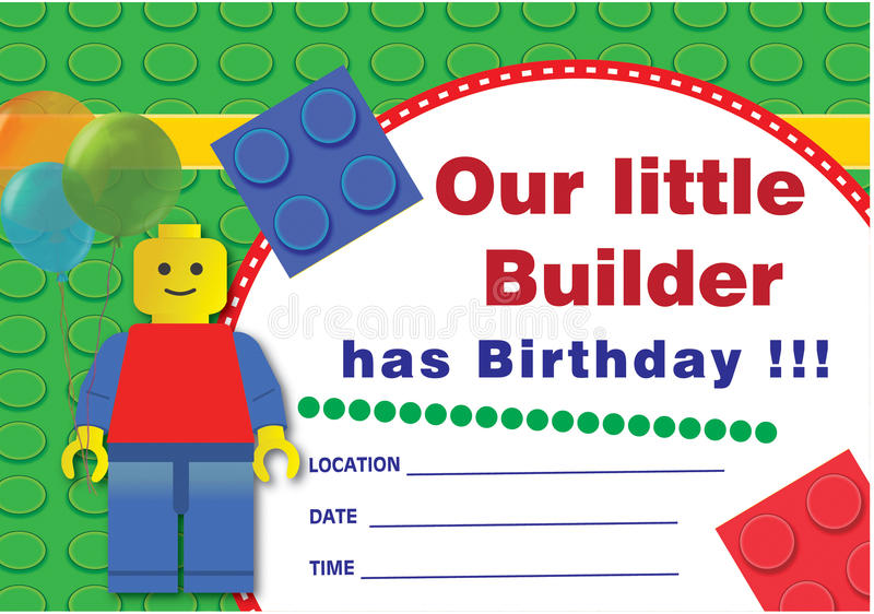 Lego birthday invitation stock illustration Image of children – Lego Birthday Invitations Free