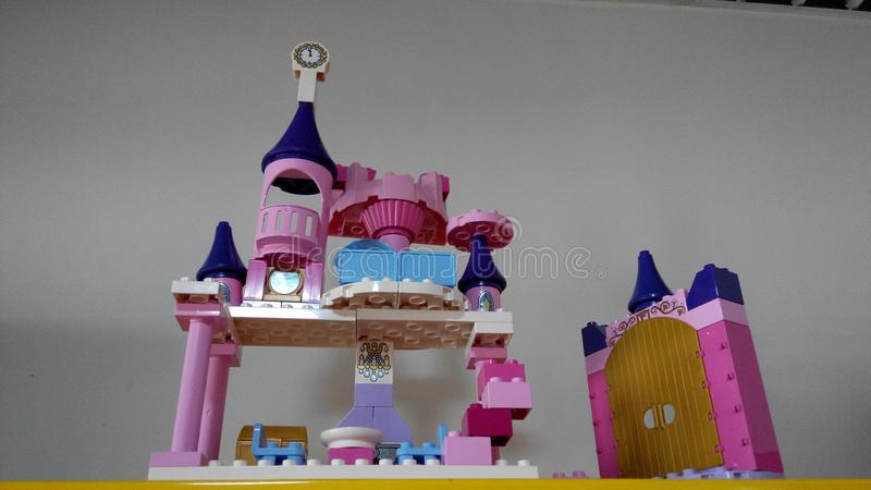 Lego blocks Castle by my son. ,It took a whole day,I think it`s a cool piece of work royalty free stock images