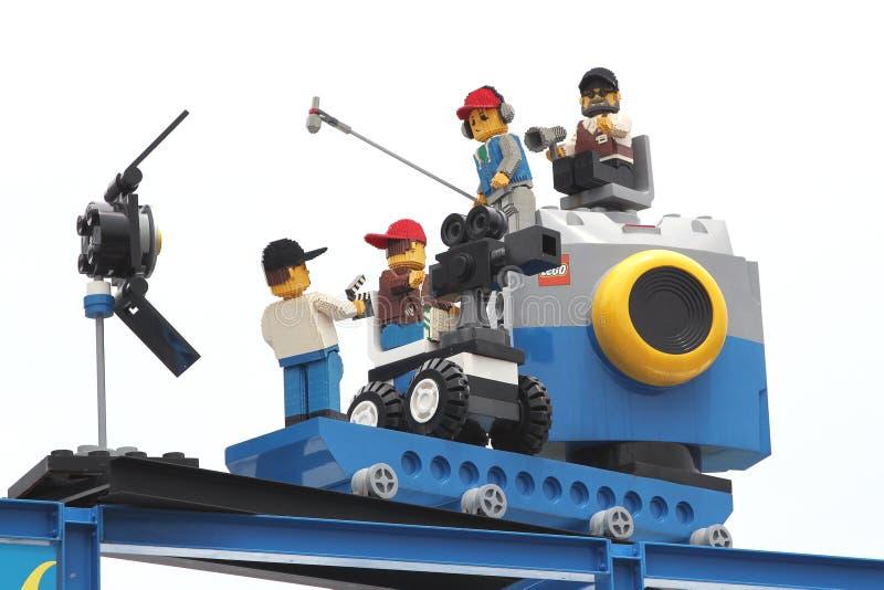 Lego Camera Crew en Legoland fotos de archivo