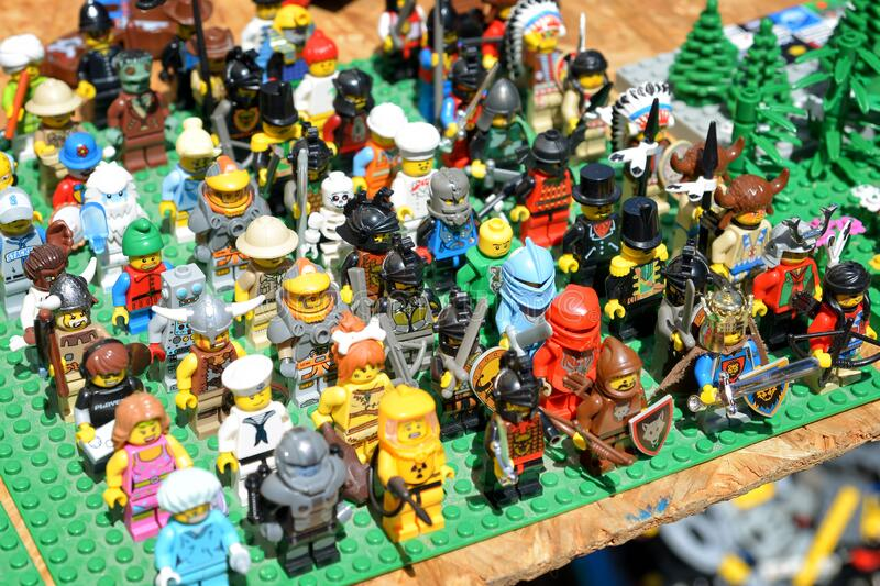 Lego Characters On Sale At Flea Market. BUDAPEST, HUNGARY, JULY 11, 2015: Lego character figures on sale at flea market, Budapest, Hungary royalty free stock photo