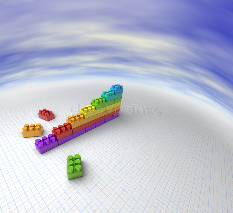 Lego chart. 3D illustration of a chart made with lego like blocks royalty free illustration