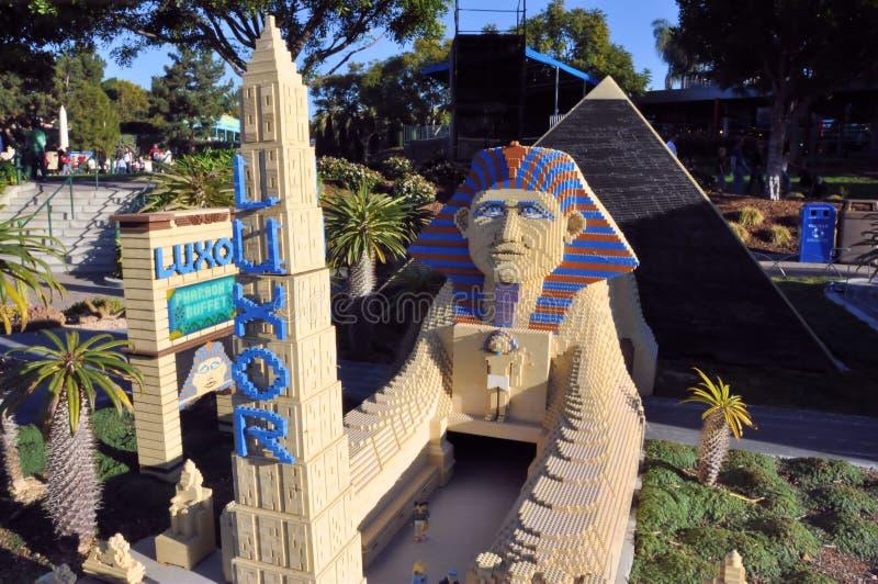 Lego city Las Vegas. Image of the Las Vegas Luxor Hotel made with Lego blocks at Legoland California taken the 28th of December 2011 stock image