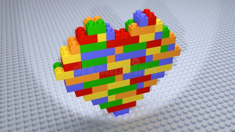 Lego - Colourful Kierowe cegły Budować na biel bazie royalty ilustracja