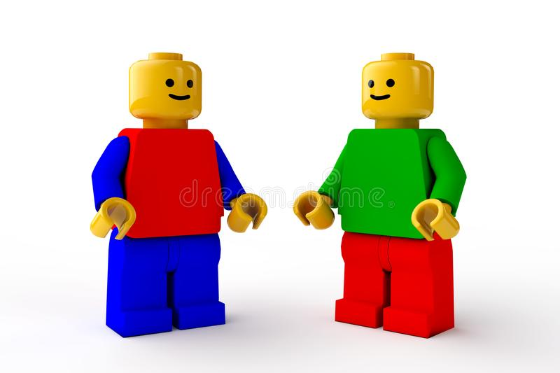 LEGO-diagram, två manliga tecken för leksaker royaltyfri illustrationer