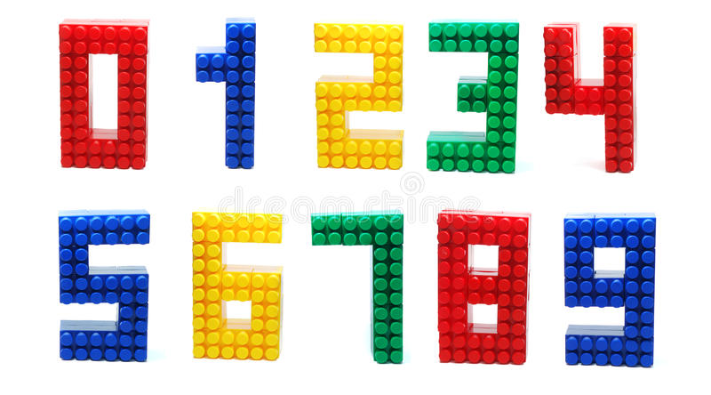 Lego Digits Set Isolated. Colored Digits Set made of Plastic Toy Blocks (Lego) Isolated on White Background royalty free stock images