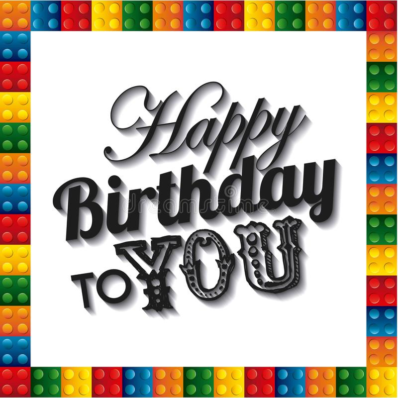 Lego Frame Icon. Happy Birthday Design. Vector Graphic