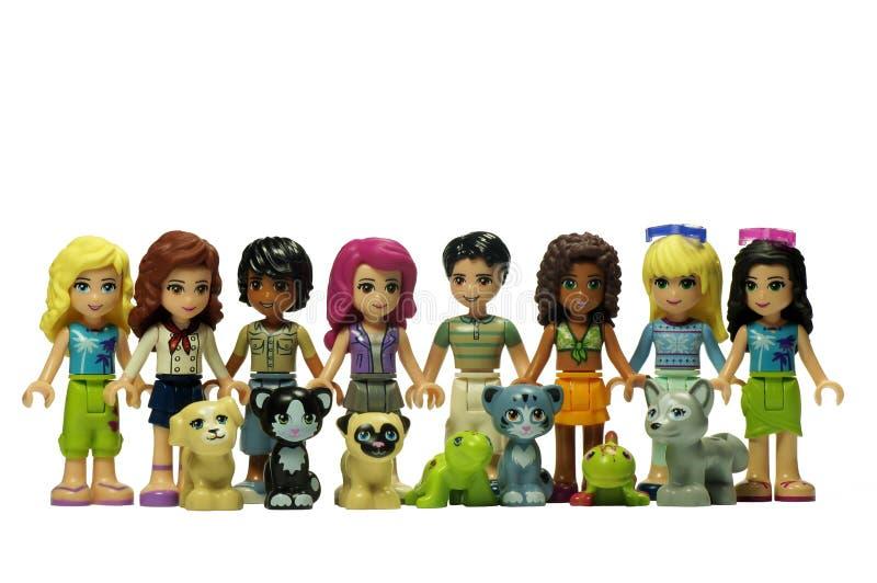 Lego-Freunde mit ihren Tieren stockfoto