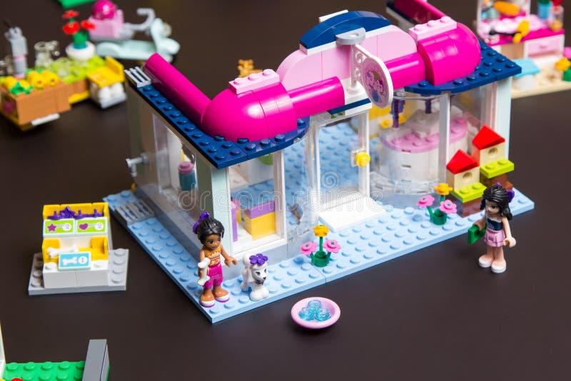 Lego Friends Andrea en Emma bij dierenwinkel royalty-vrije stock afbeeldingen
