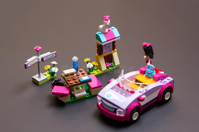 Lego Friends Emma travelling stock image