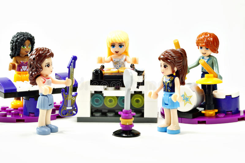 LEGO FRIENDS GIRL BAND PRACTICING BEFORE CONCERT stock photo