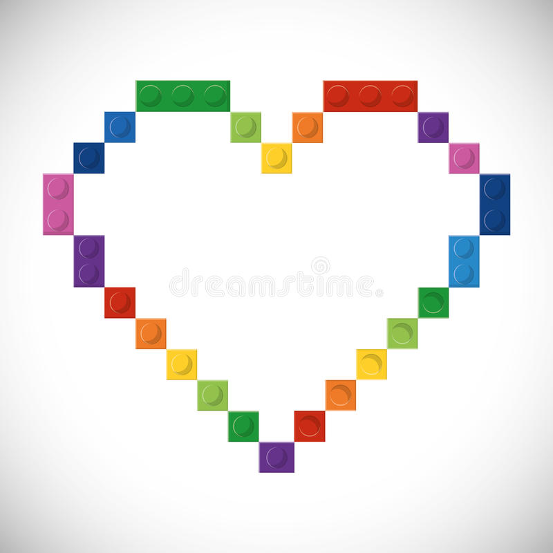 Lego icon. Abstract heart figure. Vector graphic royalty free illustration