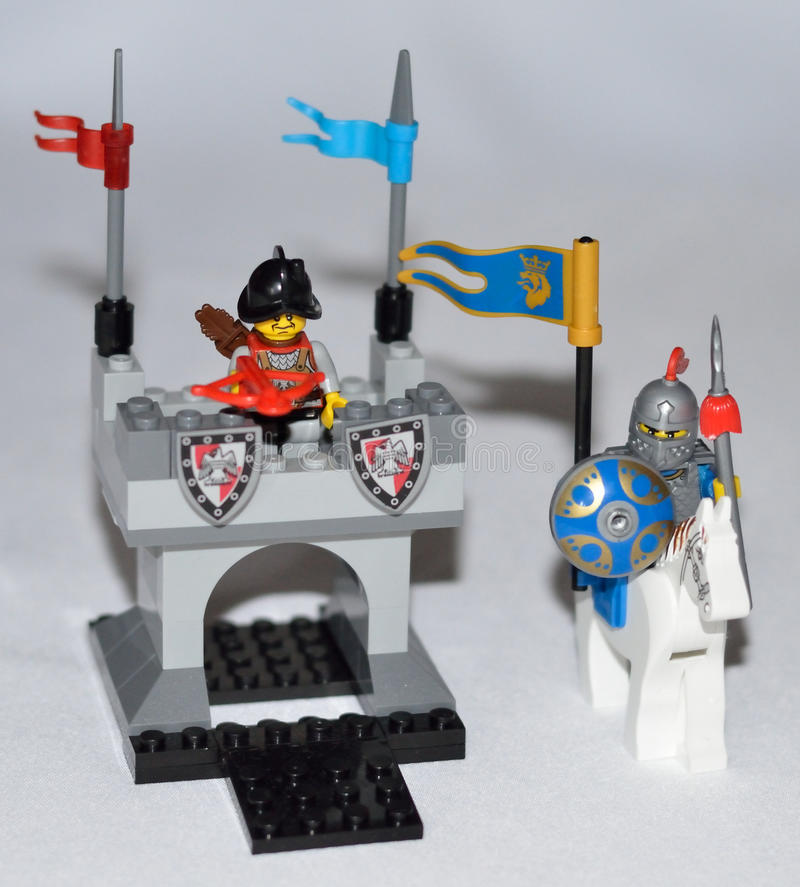 Lego knight. On horseback and armor stock images