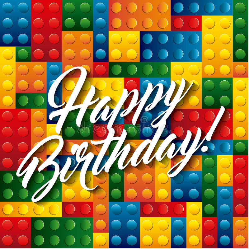 Lego lappar symbolen lycklig födelsedagdesign som stylized swirlvektorn för bakgrund det dekorativa diagrammet vågr stock illustrationer
