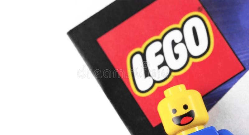 Lego logo and minifigure are manufactured by The Lego Group. Moscow, Russia - September 23, 2019 stock photos