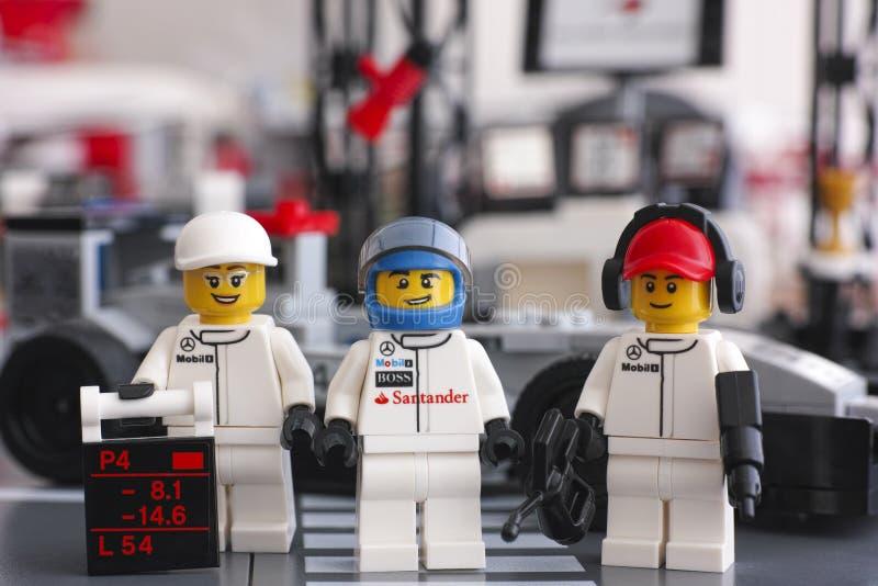 Lego McLaren Mercedes team crew members royalty free stock photos
