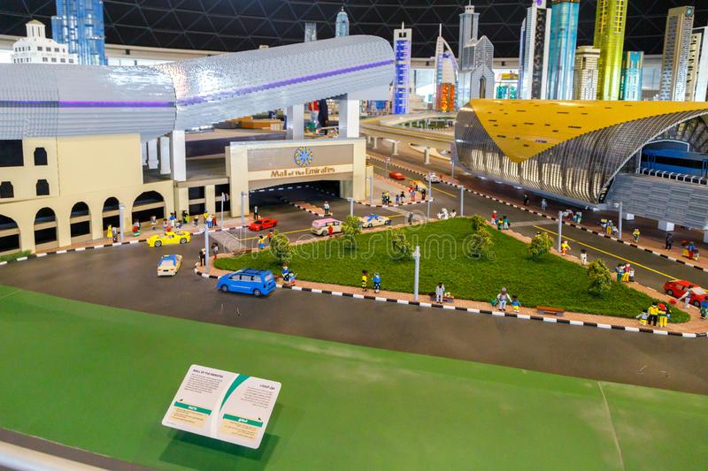 Lego miniature of the Mall of Emirates and the Sheikh Zayed Road Metro Station in Miniland of Legoland stock photo