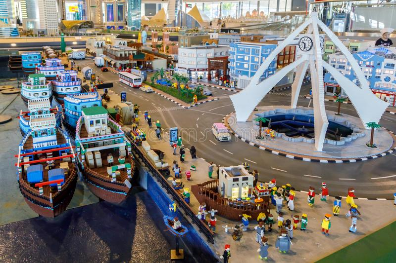 Lego miniature of the sea harbor with ships, moorings and all infrastructure in Miniland of Legoland. DUBAI, UAE, JANUARY 09, 2019: Lego miniature of the sea stock photo