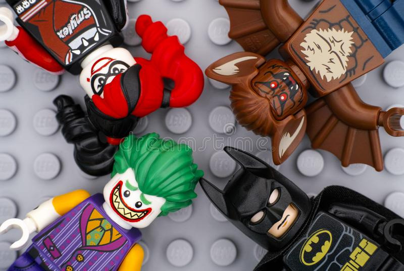Lego minifigures - Batman, The Joker, Harley Quinn and Man-Bat stock photo