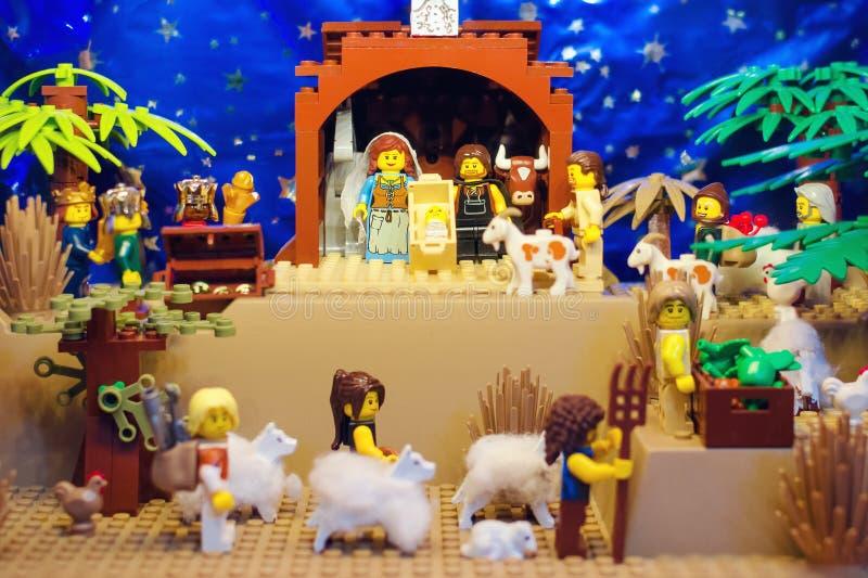 Lego Nativity Scene imagenes de archivo