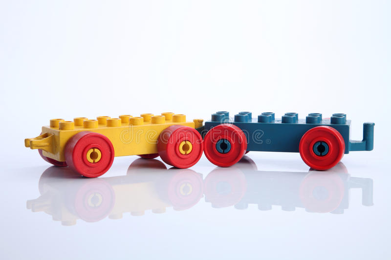 Lego. Piece with wheel on the white background stock photography