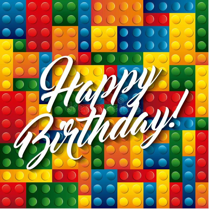Lego Pieces Icon. Happy Birthday Design. Vector Graphic