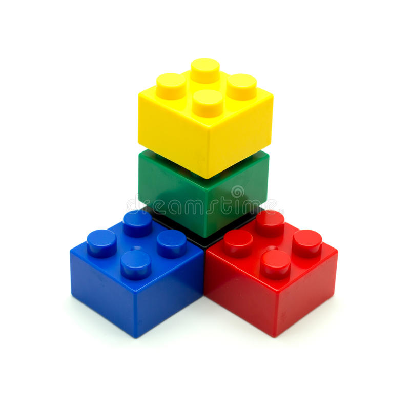 Lego plastic building blocks. On white background royalty free stock photography