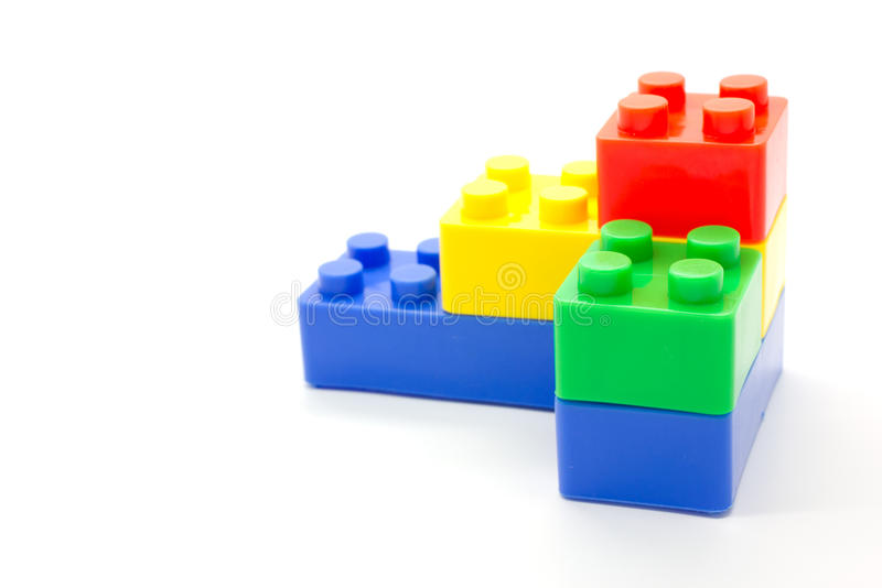 Lego Plastic Building Blocks On White Background Stock ...