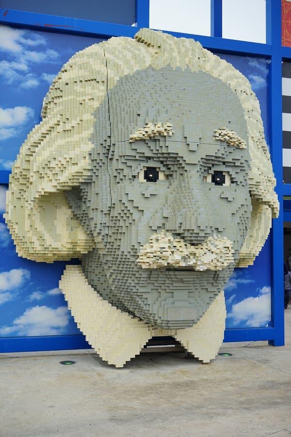 Lego portret Albert Einstein przy Legoland zdjęcie royalty free